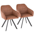 Clubhouse Contemporary Pleated Chair in Brown Faux Leather by LumiSource - Set of 2