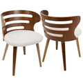 Cosi Mid-Century Modern Dining/Accent Chair in Walnut and Cream Fabric by LumiSource