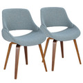 Fabrico Mid-Century Modern Dining/Accent Chair in Walnut and Blue Noise Fabric by LumiSource - Set of 2