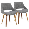 Fabrico Mid-Century Modern Dining/Accent Chair in Walnut and Grey Noise Fabric by LumiSource - Set of 2