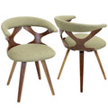 Gardenia Mid-Century Modern Dining/Accent Chair with Swivel in Walnut Wood and Green Fabric by LumiSource