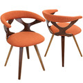 Gardenia Mid-century Modern Dining/Accent Chair with Swivel in Walnut Wood and Orange Fabric by LumiSource