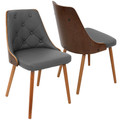 Gianna Mid-Century Modern Dining/Accent Chair in Walnut with Grey Faux Leather by LumiSource