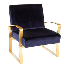 Henley Contemporary/Glam Lounge Chair in Gold Metal with Royal Blue Velvet by Lumisource