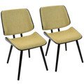 Lombardi Mid-Century Modern Dining/Accent Chair in Espresso with Yellow Fabric by LumiSource - Set of 2
