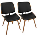 Lombardi Mid-Century Modern Dining/Accent Chair in Walnut with Black Faux Leather by LumiSource - Set of 2