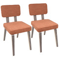 Nunzio Mid-Century Modern Dining Chair in Light Grey Wood and Orange Fabric by LumiSource - Set of 2