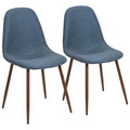 Pebble Mid-Century Modern Dining/Accent Chair in Walnut and Blue Fabric by LumiSource - Set of 2