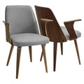 Verdana Mid-Century Modern Dining/Accent Chair in Walnut with Grey Fabric by LumiSource