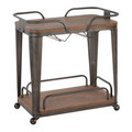 Oregon Industrial Bar Cart in Antique Metal and Espresso Wood-Pressed Grain Bamboo by LumiSource