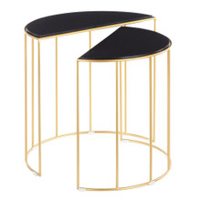 Canary Contemporary Nesting Table in Gold with Black Marble by LumiSource