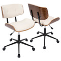 Lombardi Mid-Century Modern Adjustable Office Chair with Swivel in Walnut and Cream by LumiSource