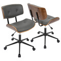 Lombardi Mid-Century Modern Adjustable Office Chair with Swivel in Walnut and Grey by LumiSource