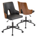 Stella Mid-Century Modern Office Chair in Walnut Wood and Black Faux Leather by LumiSource
