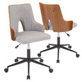 Stella Mid-Century Modern Office Chair in Walnut Wood and Grey Fabric by LumiSource
