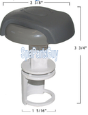 "107-757 Coleman Maax Spas Spa 1"" Diverter Valve Insert Gray Handel, Cover, Diverter Gate and 2) Stem Orings Measures 2 3/8"" Width Across Cap"