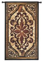 Wood Inlay Birch | Woven Tapestry Wall Art Hanging | Replicated Wood Carved Motif Scrolling Accents | 100% Cotton USA Size 53x31 Wall Tapestry