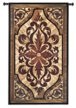 Wood Inlay Birch - Woven Tapestry Wall Art Hanging For Home Living Room & Office Decor - Replicated Wood Carved Motif Scrolling Accents Classic Pop Patterns - 100% Cotton - USA 53X31 Wall Tapestry