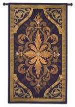 Wood Inlay Teak | Woven Tapestry Wall Art Hanging | Replicated Carved Wood Scrolling Classic Pop Patterns | 100% Cotton USA Size 53x31 Wall Tapestry