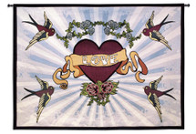 Tattoo | Woven Tapestry Wall Art Hanging | Framed Iconic Lovely Heart Design | 100% Cotton USA Size 53x38 Wall Tapestry