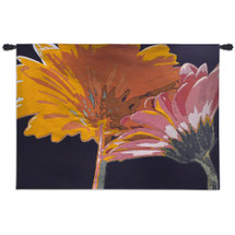 Miami Bliss by Alicia Bock | Woven Tapestry Wall Art Hanging | Radiant Contemporary Flowers on Black | 100% Cotton USA Size 53x38 Wall Tapestry