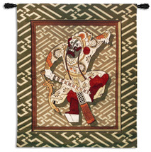 Eastern Warrior | Woven Tapestry Wall Art Hanging | Animated Asian Papercut Swordsman on Green Pattern | 100% Cotton USA Size 52x43 Wall Tapestry