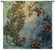 Elysian Views | Woven Tapestry Wall Art Hanging | Heavenly Laced Floral Contemporary Artwork with Birds | 100% Cotton USA Size 45x44 Wall Tapestry