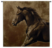 Westward Gallop by Robert Dawson | Woven Tapestry Wall Art Hanging | Focused Equestrian Artwork in Brown | 100% Cotton USA Size 53x51 Wall Tapestry