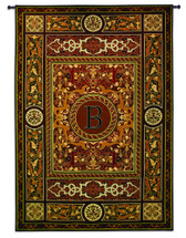 "Monogram Medallion B | Woven Tapestry Wall Art Hanging | Ornate Symmetric Mosaic Artwork with Decorative Letter ""B"" 