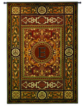 "Monogram Medallion E | Woven Tapestry Wall Art Hanging | Ornate Symmetric Mosaic Artwork with Decorative Letter ""E"" 