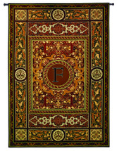 "Monogram Medallion F - Woven Tapestry Wall Art Hanging - Ceramic Mosaics Turned Textile In A Symmetrical Motif With Decorative Letter ""F"" - 100% Cotton - USA 75X53 Wall Tapestry"
