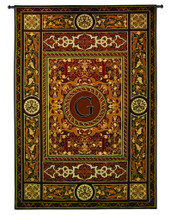 "Monogram Medallion G | Woven Tapestry Wall Art Hanging | Ornate Symmetric Mosaic Artwork with Decorative Letter ""G"" 