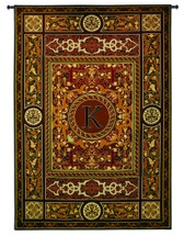 "Monogram Medallion K | Woven Tapestry Wall Art Hanging | Ornate Symmetric Mosaic Artwork with Decorative Letter ""K"" 