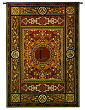 Fine Art Tapestries Monogram Medallion L Hand Finished European Style Jacquard Woven Wall Tapestry USA 75X53 Wall Tapestry