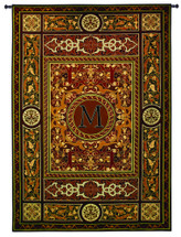 "Monogram Medallion M | Woven Tapestry Wall Art Hanging | Ornate Symmetric Mosaic Artwork with Decorative Letter ""M"" 