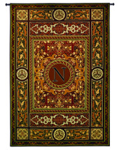 "Monogram Medallion N - Woven Tapestry Wall Art Hanging - Ceramic Mosaics Turned Textile In A Symmetrical Motif With Decorative Letter ""N"" - 100% Cotton - USA 75X53 Wall Tapestry"
