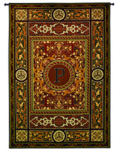 "Monogram Medallion P | Woven Tapestry Wall Art Hanging | Ornate Symmetric Mosaic Artwork with Decorative Letter ""P"" 