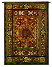 "Monogram Medallion R | Woven Tapestry Wall Art Hanging | Ornate Symmetric Mosaic Artwork with Decorative Letter ""R"" 