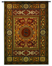 "Monogram Medallion S | Woven Tapestry Wall Art Hanging | Ornate Symmetric Mosaic Artwork with Decorative Letter ""S"" 