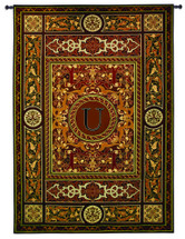 "Monogram Medallion U | Woven Tapestry Wall Art Hanging | Ornate Symmetric Mosaic Artwork with Decorative Letter ""U"" 