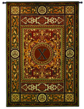 Fine Art Tapestries Monogram MedallionxHand Finished European Style Jacquard Woven Wall Tapestry USA 75X53 Wall Tapestry