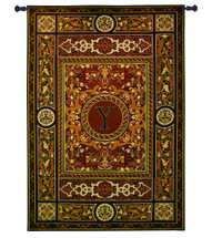 "Monogram Medallion Y | Woven Tapestry Wall Art Hanging | Ornate Symmetric Mosaic Artwork with Decorative Letter ""Y"" 