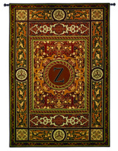 "Monogram Medallion Z | Woven Tapestry Wall Art Hanging | Ornate Symmetric Mosaic Artwork with Decorative Letter ""Z"" 