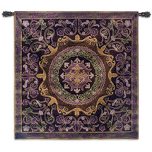 Suzani Passion | Woven Tapestry Wall Art Hanging | Ornate Central Asian Patterned Tribal Textile | 100% Cotton USA Size 44x44 Wall Tapestry
