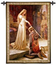 The Accolade by Edmund Blair Leighton | Woven Tapestry Wall Art Hanging |  Medieval Romantic Renaissance Masterpiece | 100% Cotton USA Size 40x31 Wall Tapestry