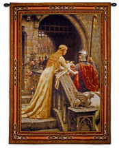 Godspeed Edmund Blair Leighton Unique Woven Wall Art Decor - Medieval Lady With Arthurian Knight - A Renaissance Artwork Fantasy Lover'S Favorite - 100% Cotton - USA Wall Tapestry