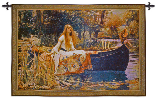 The Lady of Shalott by John William Waterhouse | Woven Tapestry Wall Art Hanging | Arthurian Renaissance Camelot Pre Raphaelite Fantasy Artwork | 100% Cotton USA Size 40x31 Wall Tapestry