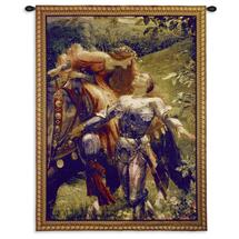 La Belle Dame Sans Merci by John William Waterhouse -Woven Tapestry Wall Art Hanging for Home & Office Décor - John Keats Poem Knight & Lady Kiss Romantic Medieval Theme - Cotton- USA - 40X31 Wall Tapestry