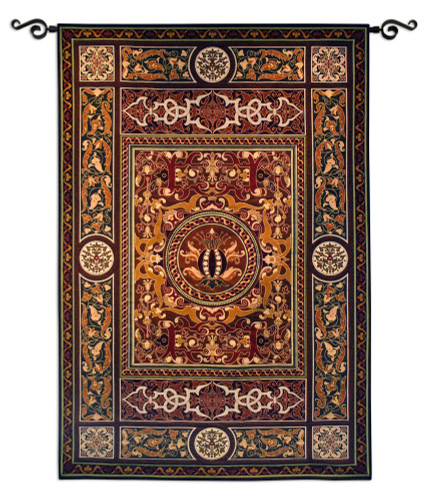 Chateau Medallion   Woven Tapestry Wall Art Hanging   Ornate Symmetric Mosaic Artwork   100% Cotton USA Size 75x53 Wall Tapestry