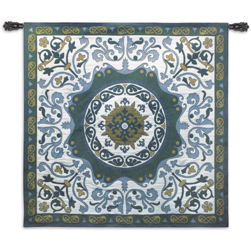 Fine Art Tapestries Suzani Indigo Hand Finished European Style Jacquard Woven Wall Tapestry  USA Size 44x44 Wall Tapestry